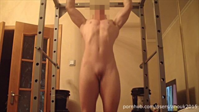 Naked asian bodybuilders Naked pull up, posing, flexing, abs workout, masturbation muscle girl anouk
