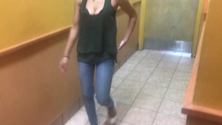 Blowjob in a Popeyes restroom cum in mouth and swallow