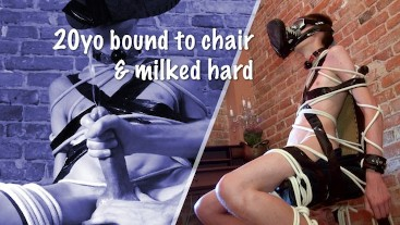 Young twink bound to a chair and milked hard