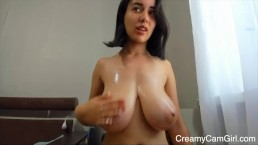 Young Latina Plays With Tits - CreamyCamGirl.com