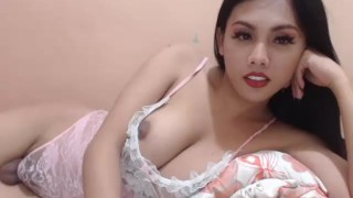 Super cute asian Ladyboy webcamming with balls out Big riding