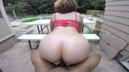 Blonde w/ perfect round ass gives head & rides reverse cowgirl in chair!