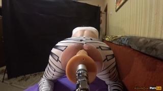 Leggings striped ass fucks sexmachine in feet leggings