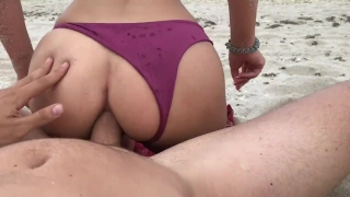 Exploding Massive ANAL CREAMPIE for Young Blonde on Public Beach Cock dick