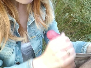 Blowjob in nature from cute teen Alice J