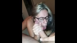 LATINA STEPSISTER COCK GOBBLIN' CUM ON GLASSES
