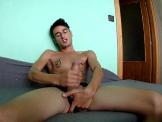 Slutty young fingers himself while jerking off (crazy legs up cum position)