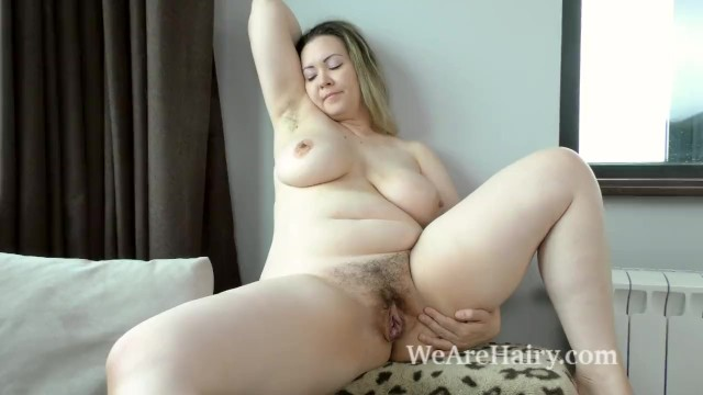 Teen blond hairy Marsela has hot fun after cleaning and ironing