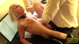 Nympho subslut Nora Barcelona fed cum after rough plowing