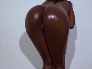 Oily sexy ebony babe cock...