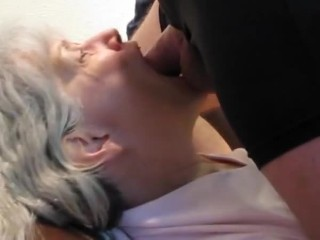 Honey stepgrandma suck my cock and drink cum in Living room