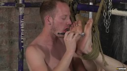Bound twink punished with hot wax and ass fucked hard