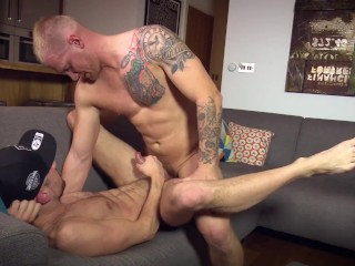 Huge Blond guy fucks hairy younger guy and coats him in cum