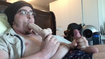 Big Thick Cumload Self Facial! Tasting Cum & Sucking Dildo! Cum on Glasses