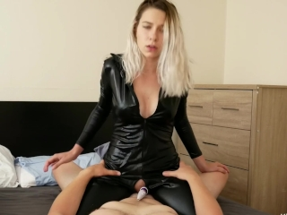 3 HUGE riding orgasms being choked from catsuit goddess!