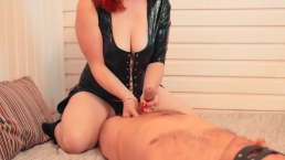 Submissive Hard Handjob to Massive Cumshot   Hot Ginger in Leather Suit