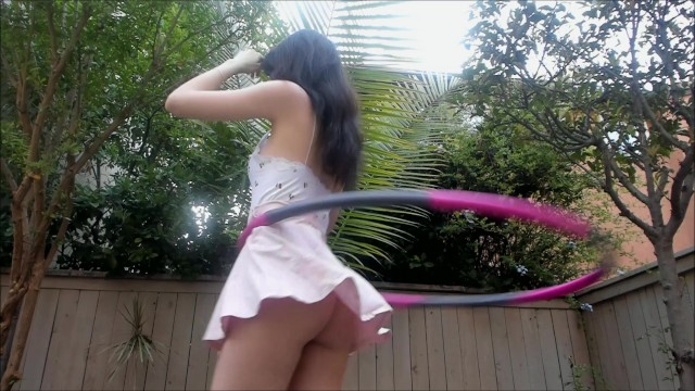Hula ass - Hula hooping with no panties tons of upskirt