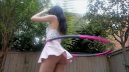 Hula Hooping with no Panties TONS of Upskirt ♡