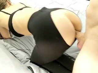 Step Brother Rips Sister's Pants and Fucks her Hard through her Leggings