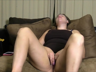 BBW Brunette Edging and Cumming on the Couch at the End of a Long Day