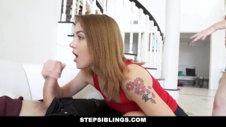 StepSiblings - Lets Both Ride This Cock porno