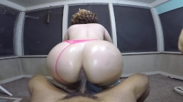 Late night suck & fuck w/ sexy bubble butt blonde on the back porch!