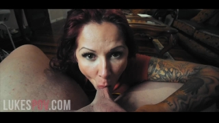 Of her cum load massive tits mouth takes a huge pov milf in gives blowjob milf big