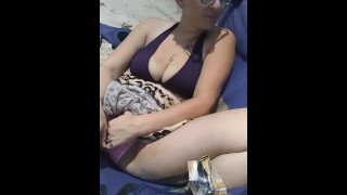 Gets the beach touching public slut pussy hairy her wet super at wife verified