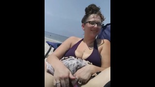 Slut gets super wet touching her hairy pussy at the public beach Propertysex funny