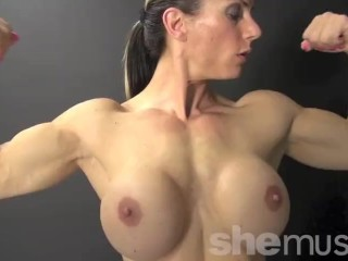 Naked Female Bodybuilder Shows Off Her Big Biceps and Boobs