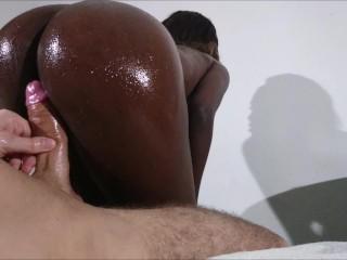 Assjob sexy black booty makes white cock...