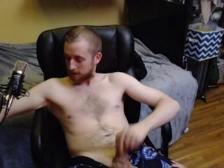 Dick jerk on hairy chest horny...