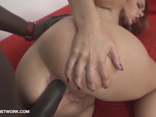 Black hard and gives her anal orgasm cum...
