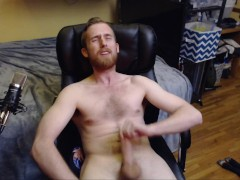 NAKED STUD WIT BEARD JERKS BIG UNCUT DICK TO ORGASM WITH CUM ON HAIRY CHEST