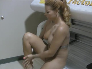 Chasity Merlow - Tanning. Hot big tits brunette solo