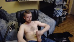 HORNY STUD CUMS ON HAIRY CHEST WHILE SHOWING OFF FOR A LIVE AUDIENCE ON CAM