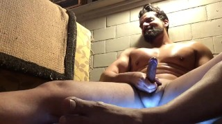 Beard muscle shows off while wife away (no cum)