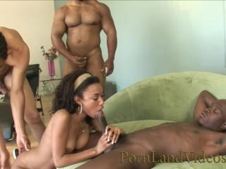Fresh Sexy Ebony Teen Ganged in Mouth