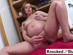Knocked up blonde fucks herself with a toy