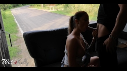 Horny girl fucks the delivery guy in the public street