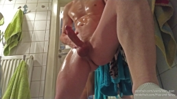 Imagine cum dripping on your face ( view from below and oil fetish)