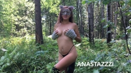 WILD HORNY KITTY FUCK AND PISS IN THE WOOD ))