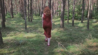 Playful Redhead Pissing in Forest and Showing her Big Boobs porno