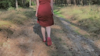 Playful Redhead Pissing in Forest and Showing her Big Boobs Hardcore doggystyle