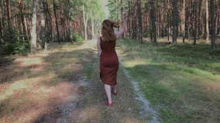 Playful Redhead Pissing in Forest and Showing her Big Boobs Milf mother