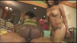2 Hot oiled Ebony Sluts sharing BBC