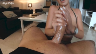 Cum explosion from edging handjob with long french nails