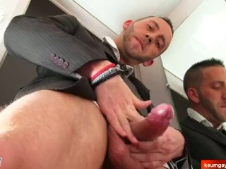 innocent handsome salesman shows to us his huge cock in a gay porn