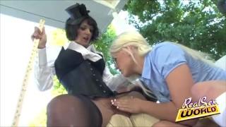 Mary licked nanny pussy stockings femdom