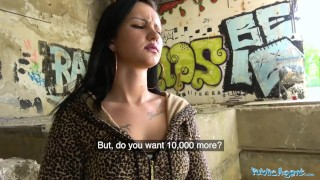 Public Agent Sexy tight tattooed body fucked in empty building by big dick